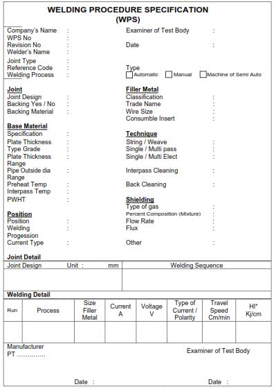 Spesifikasi Prosedur Pengelasan